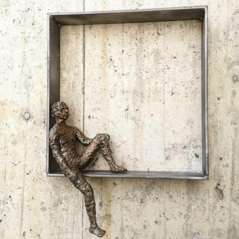 Im Rahmen Bronze Stahl Skulptur Andreas Magera